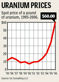 Uranium Prices, 1995-2006