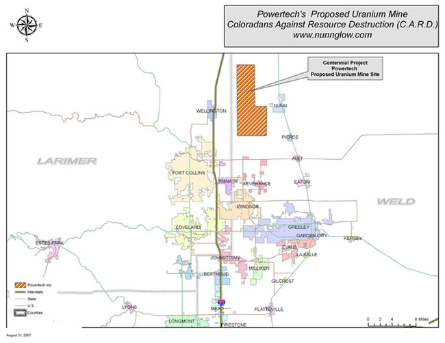Map Showing the Location of Proposed Uranium Mining in Northern Colorado